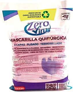 Zero Virus Mascarilla desechable rosa 3 capas plisado termosellado 100 piezas