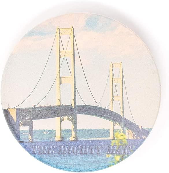 Mighty Mac Mackinac Bridge Sandstone Coaster Hand Imprinted Photo