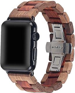 Bracelet de montre en bois 42 mm/44 mm avec boucle papillon en acier inoxydable compatible avec iWatch Series 1 2 3 4 5
