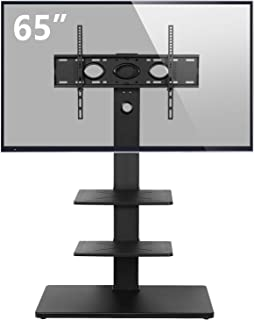 Rfiver Swivel Floor TV Stand with Mount and Media Component Shelves for Most 32 37 42 47 50 55 60 65 Inches Plasma LCD LED Flat or Curved Screen TVs, Black TF1002