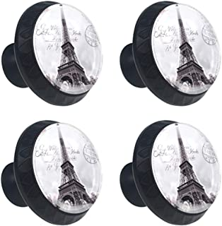 4 Pieces Drawer Knob Pull Handle Paris Eiffel Tower Stamp Crystal Glass Circle Shape Cabinet Drawer Pulls Cupboard Knobs with Screws for Home Office Cabinet Cupboard