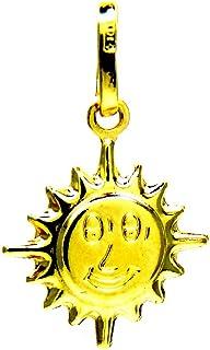 Ciondolo da Donna in Oro Giallo 18kt (750) Pendente Sole Sorridente Doppio - Ragazza Bambini