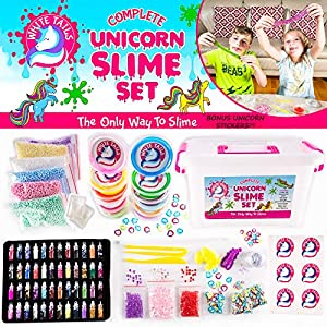 White Tails Unicorn Slime Kit for Girls and Boys 12 Containers of Clear Slime Unicorn Gifts for Girls