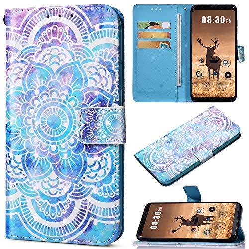 Saceebe Compatible avec iPhone XS Max Coque Housse en Cuir Portefeuille Étui Housse Brillante Glitter Coloré Motif Flip Case Pochette Magnétique Support Porte-Cartes,Henné Mandala Fleur