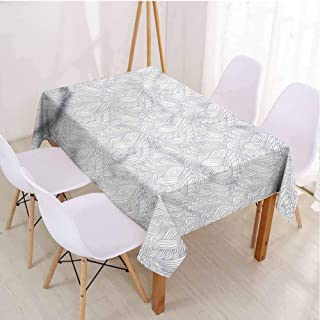 VICWOWONE Indoor and Outdoor Rectangle Tablecloth Grey and White Table Decoration Continuous Swirls,Rectangle - W60 x L84 inch