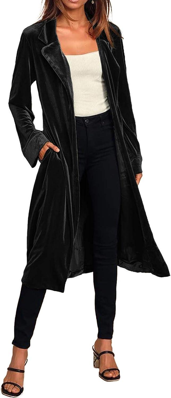 Women Casual Lapel Outwear Velvet Duster Cardigan Draped Open Fr