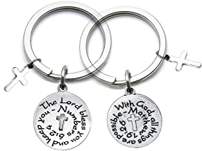 FUSTMW Christian Gifts Bible Verse Keychain Sets of Two Religious Jewelry Gifts with God All Things are Possible Inspirational Quote