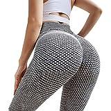 RAINBEAN Leggings Donna Fitness, Pantaloni Sportivi Yoga Vita Alta Controllo Yoga Pants Push Up per Correre Fitness - Grigio