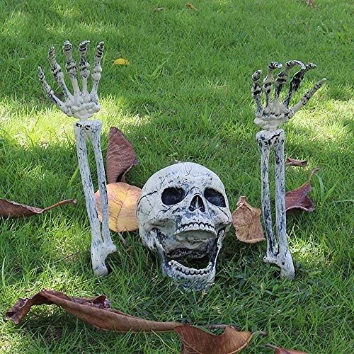 willkey Halloween Decoration 3PCS Fake Skeleton Head and Hands Set Scary Plastic Skull Skeleton Decors for Indoor Outdoor Halloween Party Haunted House