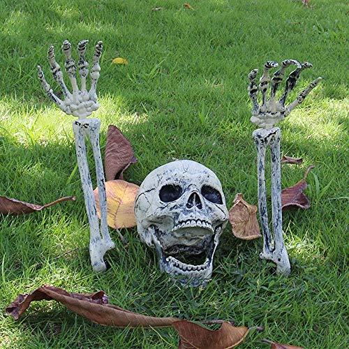 willkey - Juego de 3 piezas de decoración de Halloween con diseño de esqueleto de cabeza y manos falsas para decoración de interiores y exteriores