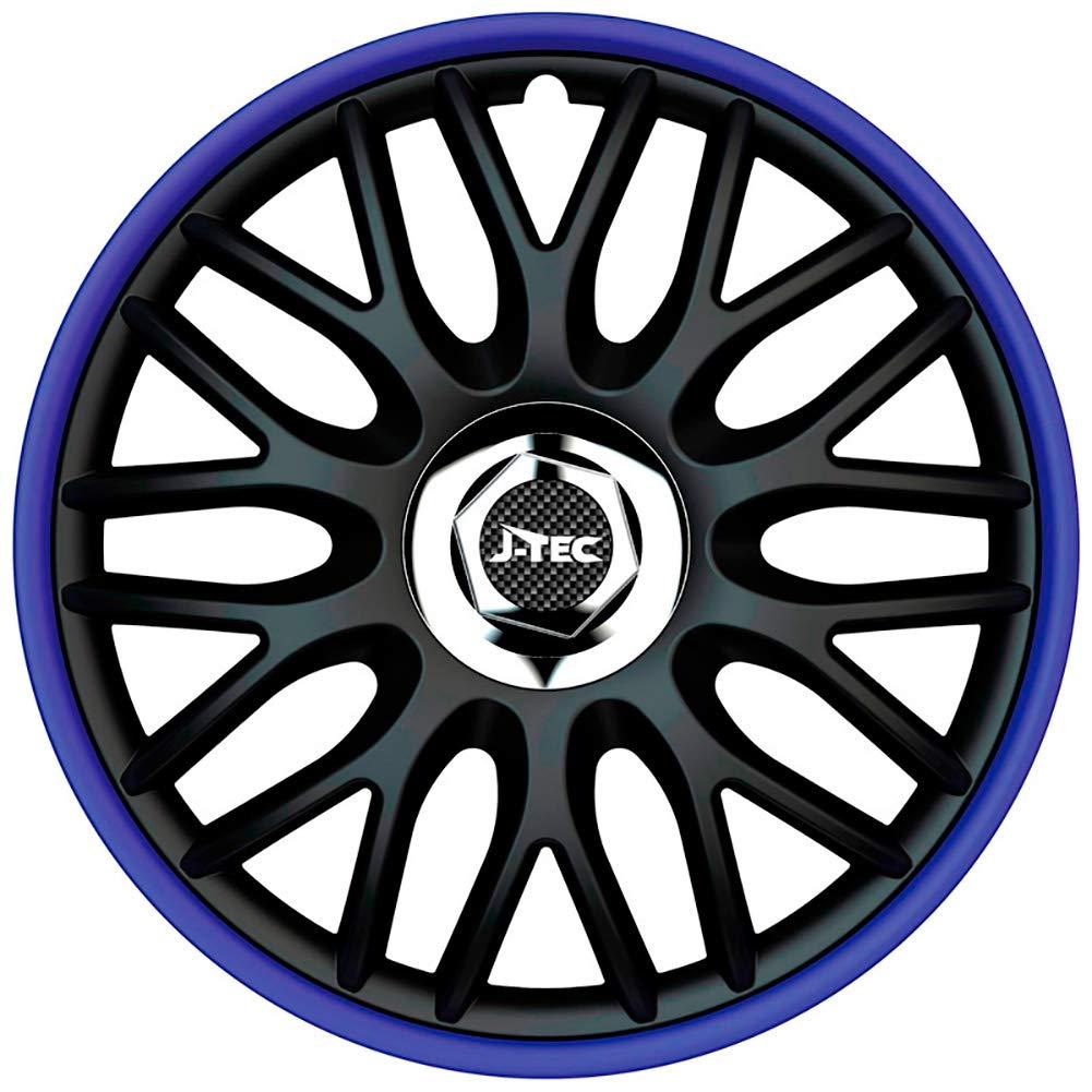 J-Tec J14518 Color Negro//Azul Anillos cromados Juego de tapacubos Orden R de 14 Pulgadas