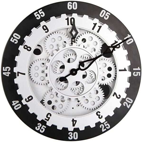 WoneNice 12 Inchs Gear Wall Clocks Art Deco Clocks Large Clocks For Living Room G065
