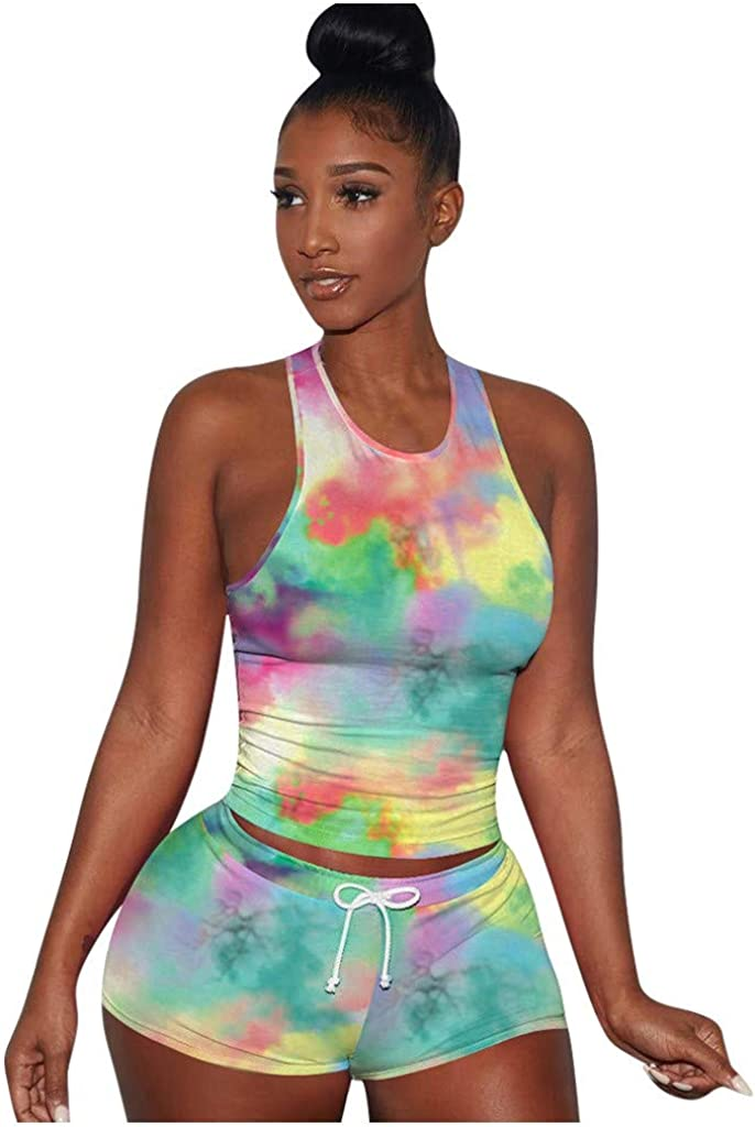 Women's Fashion Vest Sexy Tight Sport Cami Belt Top Colorful Tie-dye Print Sleeveless Strappy Pants Suit