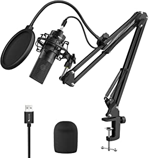 Fifine USB Streaming Microphone Kit, Condenser Studio Mic with Arm Stand & Pop Filter for Podcast Vocal Recording Singing ...