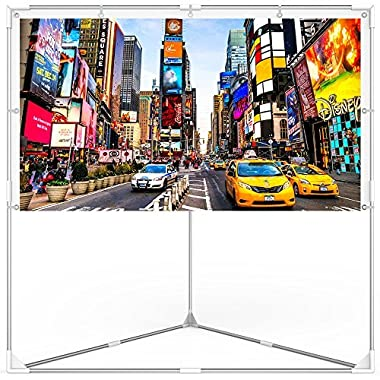 JaeilPLM 100-Inch 2-in-1 Portable Projector Screen + Outdoor & Indoor Compatible + Instant Wrinkle-Free + with Triangle Stand or Hanging Design Movie Projection for Home Theater, Gaming, Office