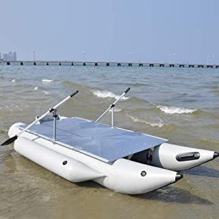 Aquos Heavy-Duty 2019 New Thermobonding 0.9mm Thickness PVC 12.5' Inflatable Pontoon Boat for Bass Fishing, Lure Fishing,Made by German PVC,Aluminum Floor Board, Transport Canada Approved