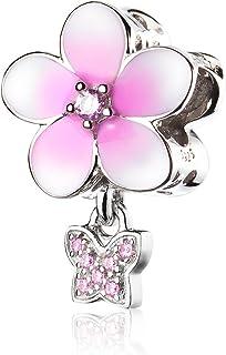 ATHENAIE 925 Sterling Silver Magnolia Bloom Pale Cerise Enamel Pink CZ Bead Charms for Bracelet