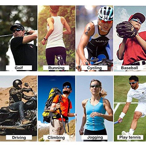 Sport Sonnenbrille Fahrradbrille Sportbrille mit UV400 5 Wechselgläser inkl Schwarze polarisierte Linse für Outdooraktivitäten wie Radfahren Laufen Klettern Autofahren Laufen Angeln Golf Unisex - 7