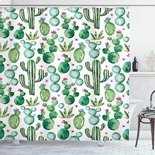 Ambesonne Green Shower Curtain, Mexican Texas Cactus