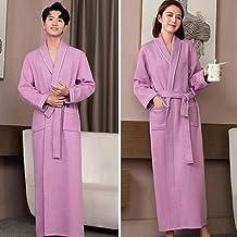 ZZJHH Herfst verlengd kimono gewaad, homewear pyjama, paar pyjama badjas, paars, heren XL