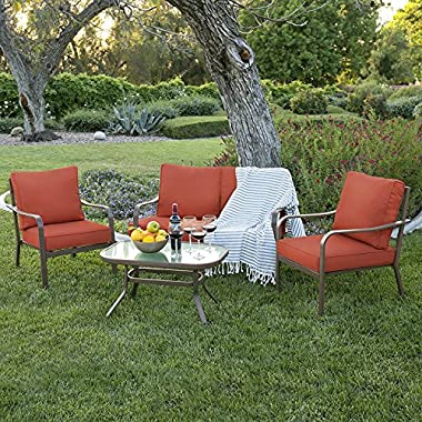 Best Choice Products 4-Piece Cushioned Patio Furniture Conversation Set w/Loveseat, 2 Chairs, Coffee Table - Red