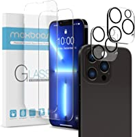 Maxboost 2 Pack Screen Protector Compatible for iPhone 13 Pro Max [6.7 inch] + 2 Pack Camera Lens Protector Tempered...