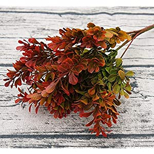 ShineBear 7 Branch Rhododendron Leaves Artificial Grass Decoration Plant Plastic Fake Flowers Simulation Eucalyptus Leaf for Garden – (Color: Orange)