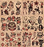 Sailor Jerry Traditional Vintage Style Tattoo Flash 6 Sheets 11x14 Old School Great For Tattoo Shop Display, Sign, Artwork, Pinup Girl Set 1