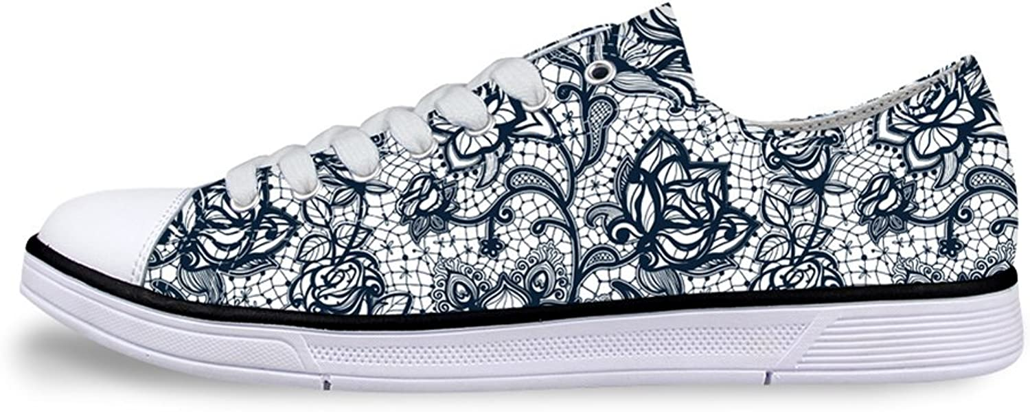Mumeson Stylish Floral Design Women Fashion Sneakers Lace-up Low Top Canvas shoes Size 5-11