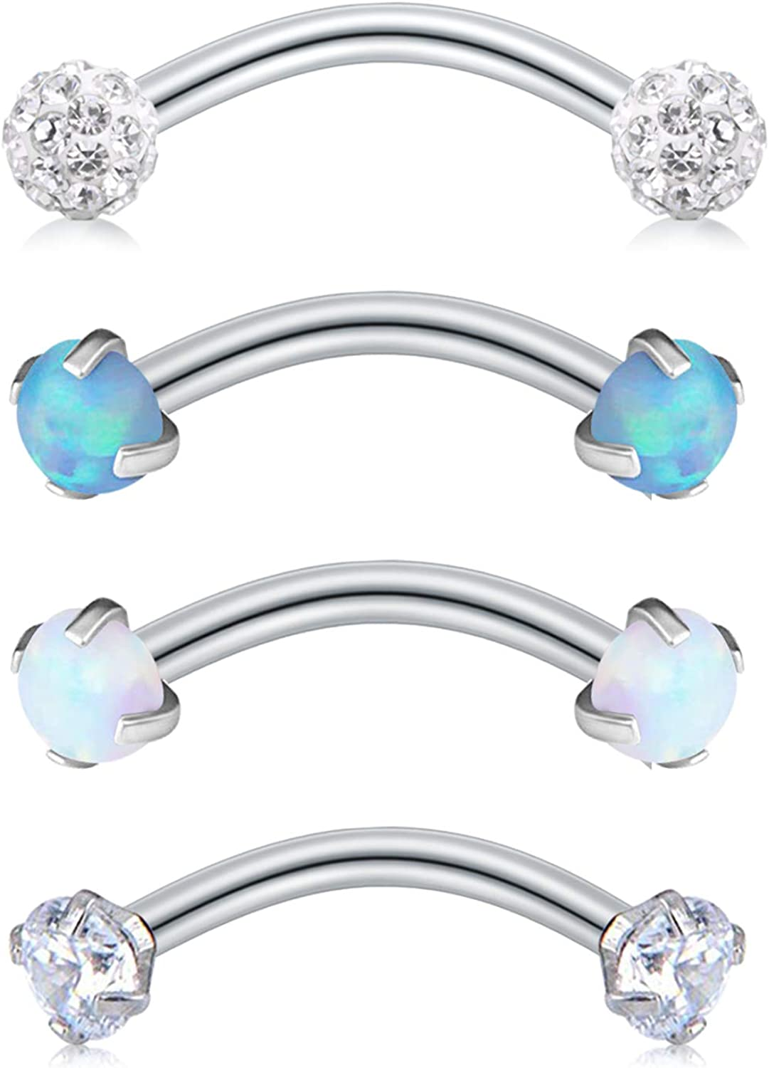 Anicina Eyebrow Rings 16g Curved Barbell Eyebrow Piercing Stainless Steel Daith Rook Earring Piercing Body Jewlery 8mm 10mm