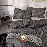 ARYURBU Black Grid King Duvet Cover Set 100% Microfiber Bedding 3-Piece Set, Luxury Cool, Plaid Bedding Duvet Cover Set Adult Four Seasons