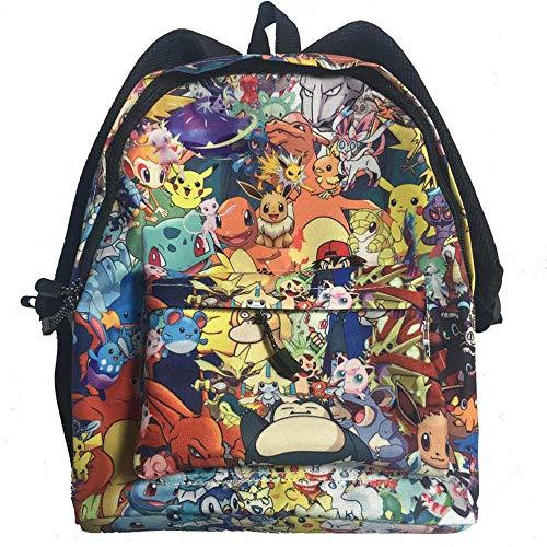 BACKPACKS Kinderrucksack Pokemon Gedruckte Große Kapazität Bequeme Schulrucksack Geeignet Für 6-12 Jahre Alt Pokémon-Black- 40 * 30 * 17cm