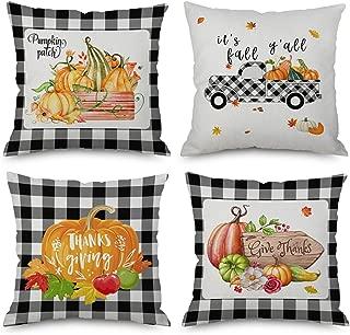 Yumin Fall Harvest Throw Pillow Cover Farmhouse Thanksgiving Buffalo Pumpkin Truck Cushion Case for Sofa Couch 18x18 Inches, Set of 4