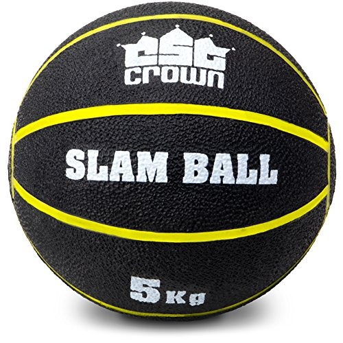 Crown Sporting Goods Slam Ball, Weighted Textured Rubber Ball – Strength & Conditioning Training Exercise Equipment for Gym, Home, Fitness Workouts 5kg (11lbs)