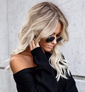 Vedar Platinum Blonde Loose Curly Wigs for Women Natural Looking Middle Part Ombre Blonde Wigs with Brown Roots 18 inch VEDAR-031-18