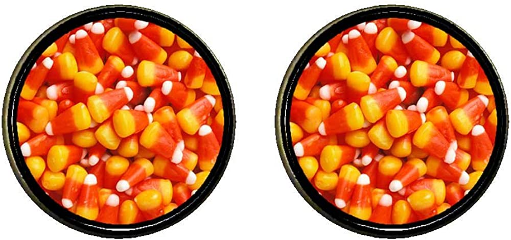 GiftJewelryShop Bronze Retro Style Halloween candy corn Photo Clip On Earrings 16mm Diameter