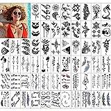 KAMEUN 60 Fogli Tatuaggi Temporanei Adulti Donne Uomo Bambini, Impermeabili Tatuaggio Temporaneo Minuscoli Nero Tatuaggio Adesivi Dura -Design Unisex