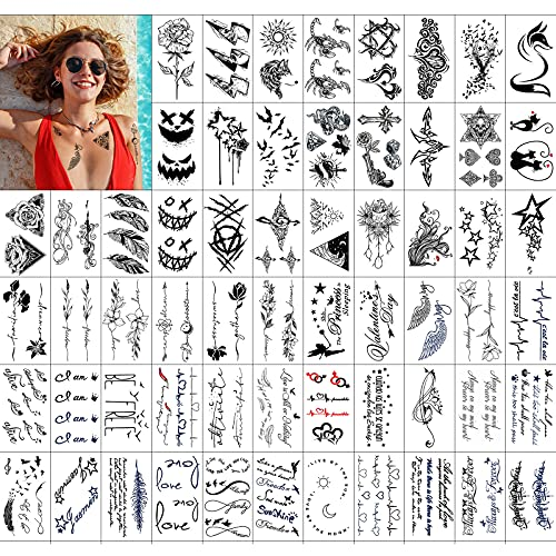 KAMEUN Tatouage Ephemere Femme, 60 Feuilles Petit Tatouages Imperméables Hommes Cou Bras Enfant Tatouage Éphémère Réaliste Grand Lion Tigre Animaux Kits Tatouage Garçon Fille Adulte