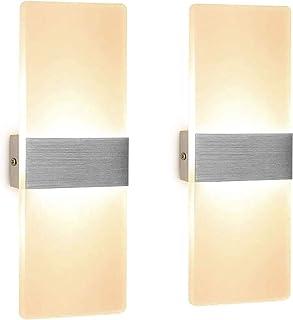Yaosh 2 sztuki kinkietu LED, do wnętrz, akrylowe oświetlenie ścienne, nowoczesne do salonu, sypialni, na klatkę schodową, ...