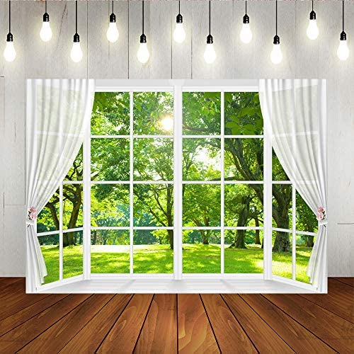 Spring Window Photography Backdrop Green Forest Garden Nature Scenery Kids Children Birthday product image
