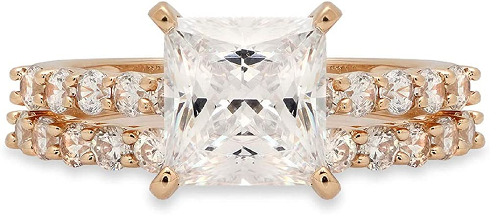 2.76 ct Princess Cut Pave Solitaire with Accent Genuine Flawless Moissanite Designer Statement Classic Engagement Bridal Ring Band wedding Set Solid 18K Yellow Gold