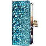 Uposao Funda para iPhone 6 Plus / 6S Plus Funda con Tapa Libro Billetera de Cuero Piel Sintética,Láser Funda Móvil Bling Brillante Purpurina Brillante Magnética Carcasa para iPhone 6S Plus,Azul