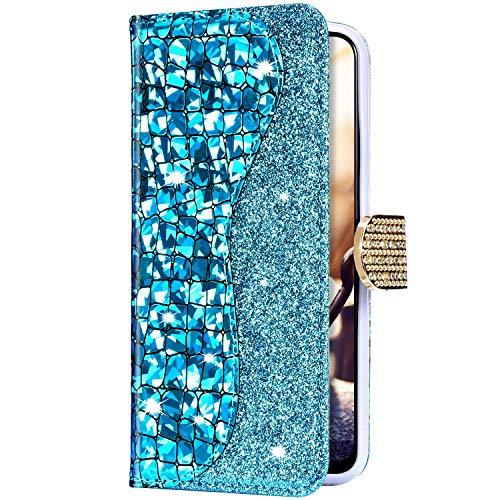 Uposao Funda para Xiaomi Redmi 5A Funda con Tapa Libro Billetera de Cuero Piel Sintética,Láser Funda Móvil Bling Brillante Purpurina Brillante Magnética Carcasa para Xiaomi Redmi 5A,Azul