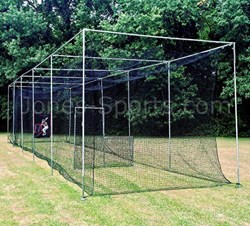 Jones Sports 10' X 12' X ? 60PLY Heavy Duty #42 HDPE Batting CAGE with Frame KIT for Baseball, Softball, Backyard Sports (10' X 12' X 50')