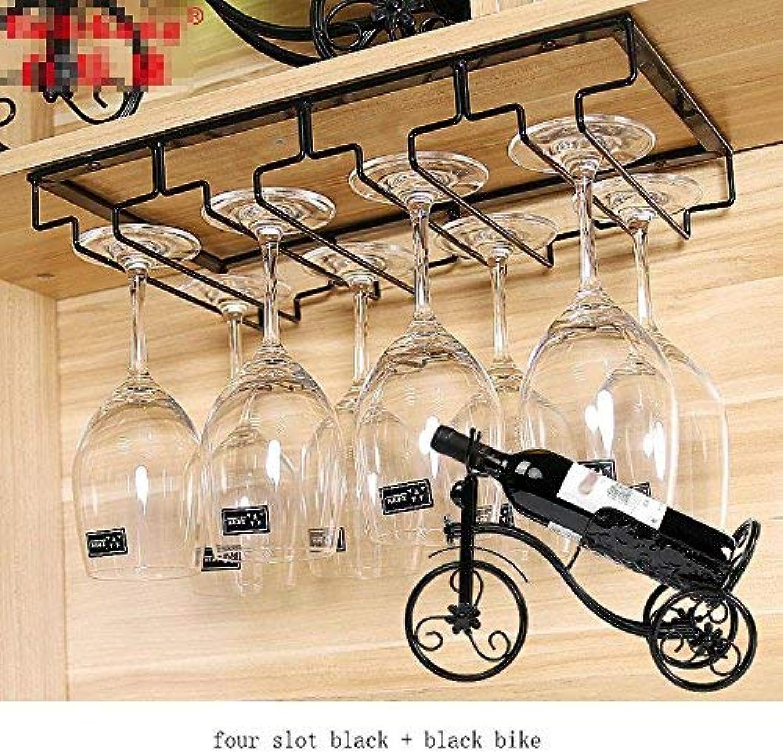 Red Wine Shelf Wine Glass Holder Wall Hanging Iron Art Home Wine Rack, Four Slot Black + Black Bike
