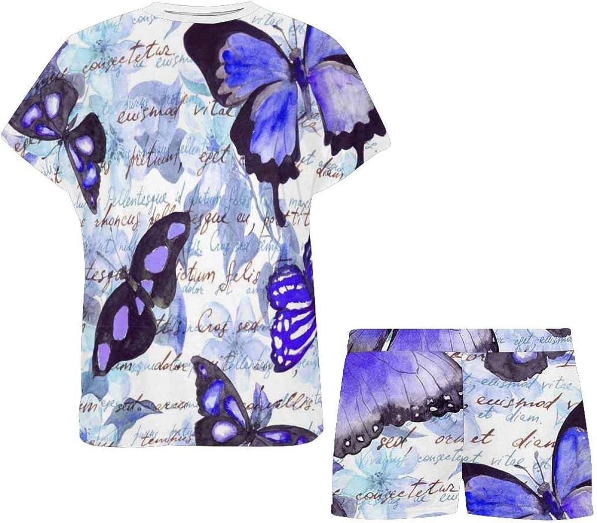 INTERESTPRINT Flowers, Butterflies and Text Women's Breathable 2 Piece Shorts Pajama Sleepwear Set