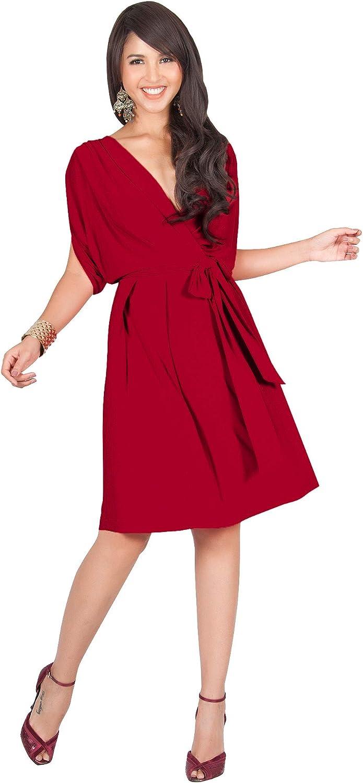 KOH KOH Womens VNeck Short Sleeve Flowy Work Knee Length Day Midi Dress