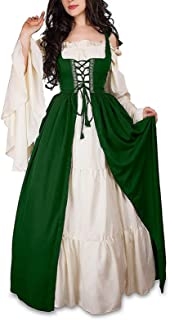 Women's Medieval Renaissance Irish Costume Over Dress & White Chemise Set, Halloween Irish Medieval Dress