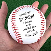 My Son, I Love You to The Centerfield Fence and Back Baseball Ball DK620, Diameter 8cm for League Play, Practice, Competitions, Gifts, Keepsakes, Arts and Crafts, Trophies, and Autographs