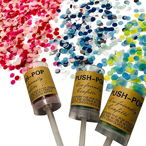 HIGH-FIVE・STORE プッシュポップキャンディ 最新クラッカー 誕生日 飾り付け パーティー プッシュポップコンフェッティ セット (ドットタイプ×3本セット)
